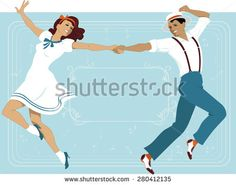 Couple dressed in 1940s fashion dancing in a classic Broadway music theater style, frame with a copy space on the background, EPS 8 - stock vector