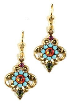 fbd874f94beecc Fabulous Multi-color Spring Swarovski crystal Mosaic earrings. - Nickle  free 14K Gold