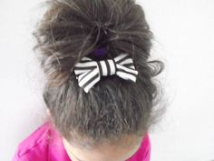Black & White stripped hair bow barrette Hair by OneOfferJewelry
