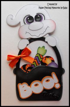 Halloween Ghost Premade Paper Pieced Embellishments for your scrapbook pages…
