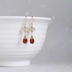 Isis Earrings - grey moonstone and red garnet 14K goldfill wire wrapped earrings by tellurus