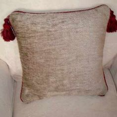 Rustic Charm Cushion, made from thick textured Zoffany velvet with a rust coloured corded edge and a heavy tassel in the top corners of the cushion. Made as a size of 18 inches square Cream Cushions, Velvet Cushions, Glam Pillows, Throw Pillows, Rust Color, Beige Color, Rustic Charm, Tassel, Charmed