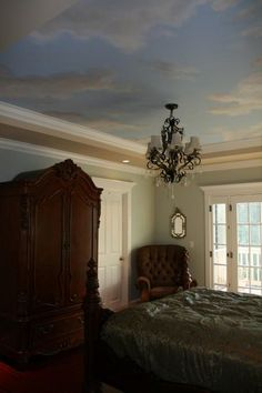 Sky ceiling for a nursery, love it.