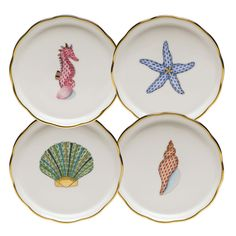 Shop a great selection of Herend Porcelain Aquatic Coaster Set Of Four. Find new offer and Similar products for Herend Porcelain Aquatic Coaster Set Of Four. China Painting, Ceramic Painting, Porcelain Painting Ideas, Pottery Painting, Ceramic Art, Painted Plates, Hand Painted, Painted Ceramics, Herend China