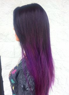 ombre hair brown to purple