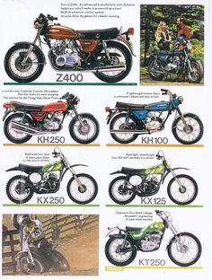 1976 Kawasaki Motorcycle Models - KZ400, KH250, KH100, KX125, KX250 & The KT250 Trials Bike.