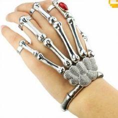 Silver Cool Punk Rock Skeleton Skull Hand Bone Ring Bracelet |http://www.bikeraa.com