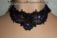 Purple rhinestone Small Black Medieval Lace Choker