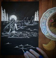 Night swimming ~ Swimming in moonlight Art