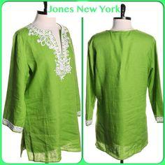 "Beautiful 100% Linen Jones New York Too Beautiful 100% Linen Jones New York Top Linen-100% TRIM: Polyester-76% Cotton-24% Length-28"" Bust-44"" LIKE NEW! Jones New York Tops"