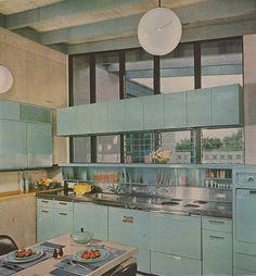 Kitchen Retro, Teal Kitchen, Vintage Kitchen, Kitchen Ideas, Retro Kitchens, Turquoise Kitchen, Retro Vintage, Modern Kitchen Design, Modern Interior Design