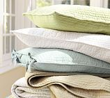 Love this color combo for spring summer bedding... Spring green, light blue, white and tan...
