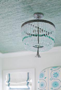 Ro Sham Beaux Malibu 1-Arm Sea Chandelier. Bedroom featuring seafoam green grasscloth wallpaper and a Ro Sham Beaux Malibu 1-Arm Sea Chandelier.  #RoShamBeauxMalibu1ArmSeaChandelier T.S. Adams Studio, Architects