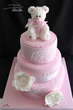 Pink Teddy Bear Christening Cake