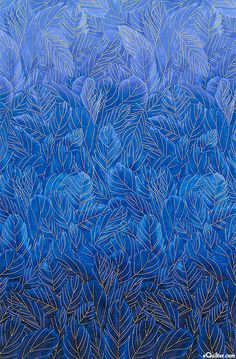 Bluebird - Ombre Feathers - Sapphire Blue/Gold'Bluebird' collection by Chong-A Hwang for Timeless Treasures.