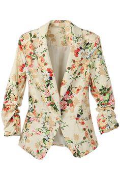 ROMWE | Lapel Floral Print Blazer, The Latest Street Fashion #Romwe