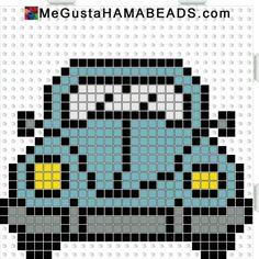 VW Beetle hama perler beads pattern by JohnsonKathy - diy Beaded Cross Stitch, Cross Stitch Charts, Cross Stitch Patterns, Quilt Patterns, Crochet Patterns, Broderie Simple, Safety Pin Crafts, Motifs Perler, Pixel Pattern