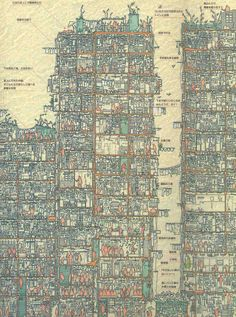 An Illustrated Cross Section of Hong Kong's Infamous Kowloon Walled City