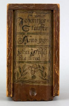 John Drissel (PA, late 18th C.), painted pine slide lid candle box ...Pook & Pook...sold for $49,140