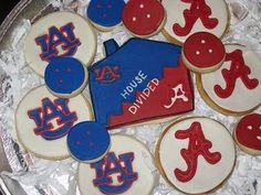 Alabama and Auburn Cookies