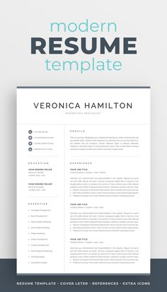 Professional Resume Template for Word One Page Resume Template, Modern Resume Template, Creative Resume Templates, Creative Cv, Cv Design, Resume Design, Cover Letter For Resume, Cover Letter Template, Resume References