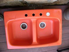 Retro orange sink double kitchen sink orange enamel 1960s 1970s enameled cast iron. $150.00, via Etsy.