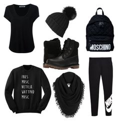 """Black outfit"" by ednacervantes on Polyvore featuring moda, NIKE, Alexander Wang, Black, Moschino, Timberland y White + Warren"
