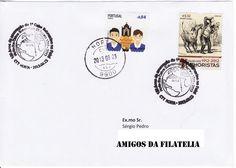 Sobrescrito circulado em correio normal com selo de 0,04€ da série Festas portuguesas colocado em circulação a 30 de Abril de 2013 e com selo do 1.º centenário do salão de humoristas colocado em circulação a 16 de Outubro de 2012