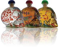 Tequila La Tilica in beautiful signature skull-shaped bottles: Blanco, Añejo and Reposado.