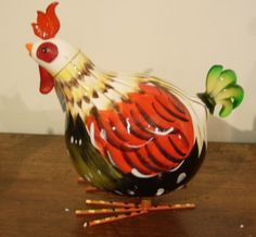 Rocking Rooster Red & Green Chicken Ornament small HU