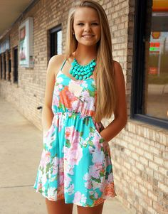 Mint Floral Sundress//could pair with a pretty cardigan