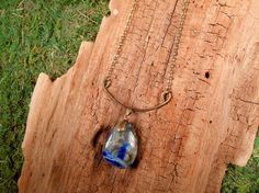 Hammered Brass Amulet Necklace with Lapis by mirabiliajewelry, $35.00