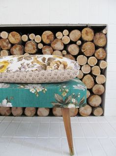 Fireplace packed with firewood #rustic #wood #home #decor #design #simple #bedroom #natural