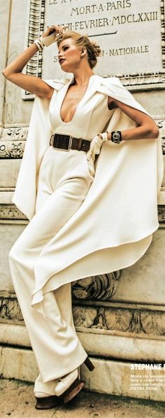 Stephanie Rolland Haute Couture...womens caped white jumpsuit