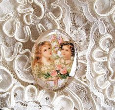 Victorian Angels 30X40mm Glitter Unset Handmade Art Bubble Cameo Cabochon #Handmade #Cameo