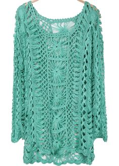 To find out about the Green Long Sleeve Hollow Floral Crochet Sweater at SHEIN, part of our latest Sweaters ready to shop online today! Crochet Vest Pattern, Crochet Tunic, Crochet Clothes, Hand Crochet, Crochet Stitches, Knit Crochet, Hairpin Lace Crochet, Hippie Tops, Lace Outfit