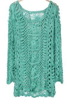 Green Long Sleeve Hollow Floral Crochet Sweater - Sheinside.com