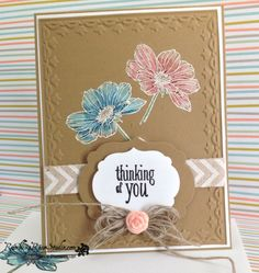 Paper:  Baked Brown Sugar and Whisper White  Ink:  Versamark with white embossing powder, and black embossing powder for the sentiment.  Flowers were colored with white chalk marker first then Gumball Green, Coastal Cabana with Island Indigo and Crisp Cantaloupe with Calypso Coral Tools and Embellishments:  Framed Tulips Embossing Folder, Labels Collection Framelits, Paper Clay and Flower Mold, Linen Thread and Natural Chevron Ribbon