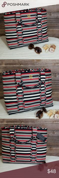 """Tommy Hilfiger Large Tote. Travel bag. NWT Beautiful and versatile Tommy Hilfiger tote.  14"""" tall 17 wide. Red, white and blue.  Pocket inside. Tons of space. Great for weekend getaway.  NWT. Tommy Hilfiger Bags"""
