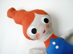 Orange Haired Cloth Doll with A Blue PolkaDotted Dress by Molipop My Policy, Slim Arms, Firecracker, Say Hello, Doll Clothes, To My Daughter, My Design, Dinosaur Stuffed Animal, Cotton Fabric
