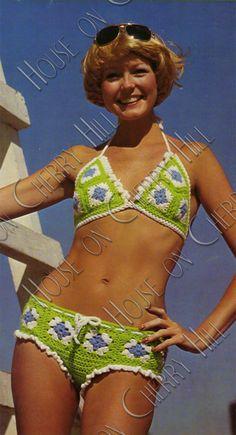 Love this bathing suit!  Mod Summer Bikini Digital Crochet Pattern  by HouseonCherryHill, $3.50