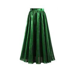 Green Xl High Waist Metallic Midi Skirt ($18) ❤ liked on Polyvore featuring skirts, high waisted midi skirt, green metallic skirt, metallic skirt, calf length skirts and high waisted knee length skirt