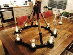 Welded chandelier made by Vegard Johansen