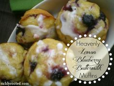 Heavenly Lemon Blueberry Buttermilk Muffins - RichlyRooted.com