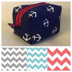 Small Makeup Bag  - Chevron Makeup Bag -  by InADreamBoutique on @Etsy --- love the light blue chevron!