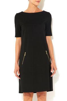 Black Drop Waist Ponte Dress - Wallis