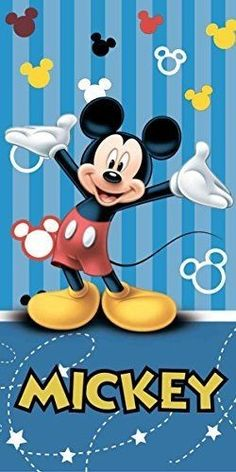 Mickey Mouse Blue Stripe Beach Towel Cotton By BestTrend Mickey Mouse Cartoon, Mickey Mouse And Friends, Mickey Minnie Mouse, Disney Fun, Disney Mickey Mouse, Walt Disney, Mickey Mouse Wallpaper Iphone, Disney Wallpaper, Mickey Mouse Pictures
