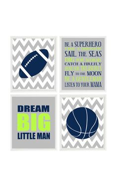 Sports Nursery, Football Wall Art, Basketball Art, Dream Big Little Man Quote, Boy Rules Poster, Baby Boy Nursery, Toddler Boy Room, Gift by RizzleandRugee on Etsy https://www.etsy.com/listing/239180310/sports-nursery-football-wall-art