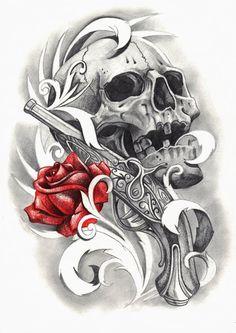 Dessin tatouage tête de mort, rose et pistolet
