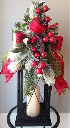 """""""CARDINAL DELIGHTS"""" -   Christmas Winter Holiday Lantern Swag Decoration by DecorClassicFlorals, $ 44.95 on Etsy"""